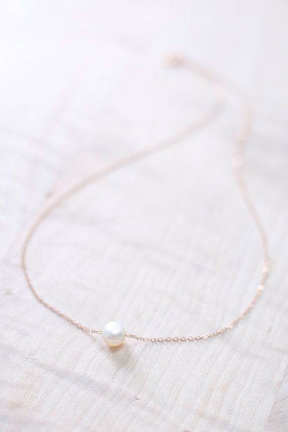 Rose Gold Pearl Necklace - Rose Gold Necklace Dainty - Single Pearl Necklace…