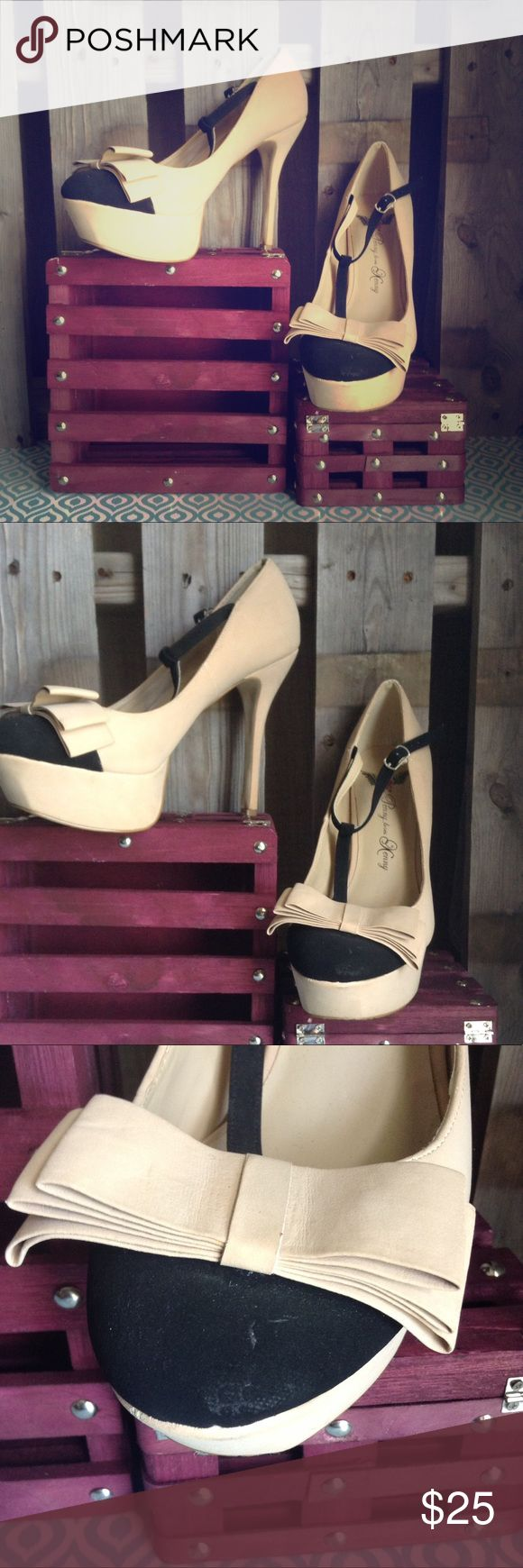Penny loves Kenny bow t-strap platform stiletto Gorgeous but well loved PLK round bowed toe platform heel. All wear pictured. Blush pink/beige and black. Perfect neutral pump. 8.5 Penny loves Kenny Shoes Heels