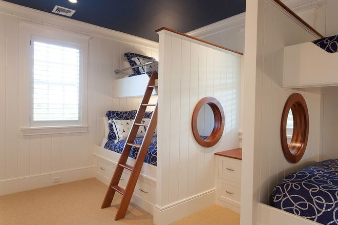 beach style kids by Chip Webster Architecture. Like the crisp white with dark wood trim. Blue ceiling.