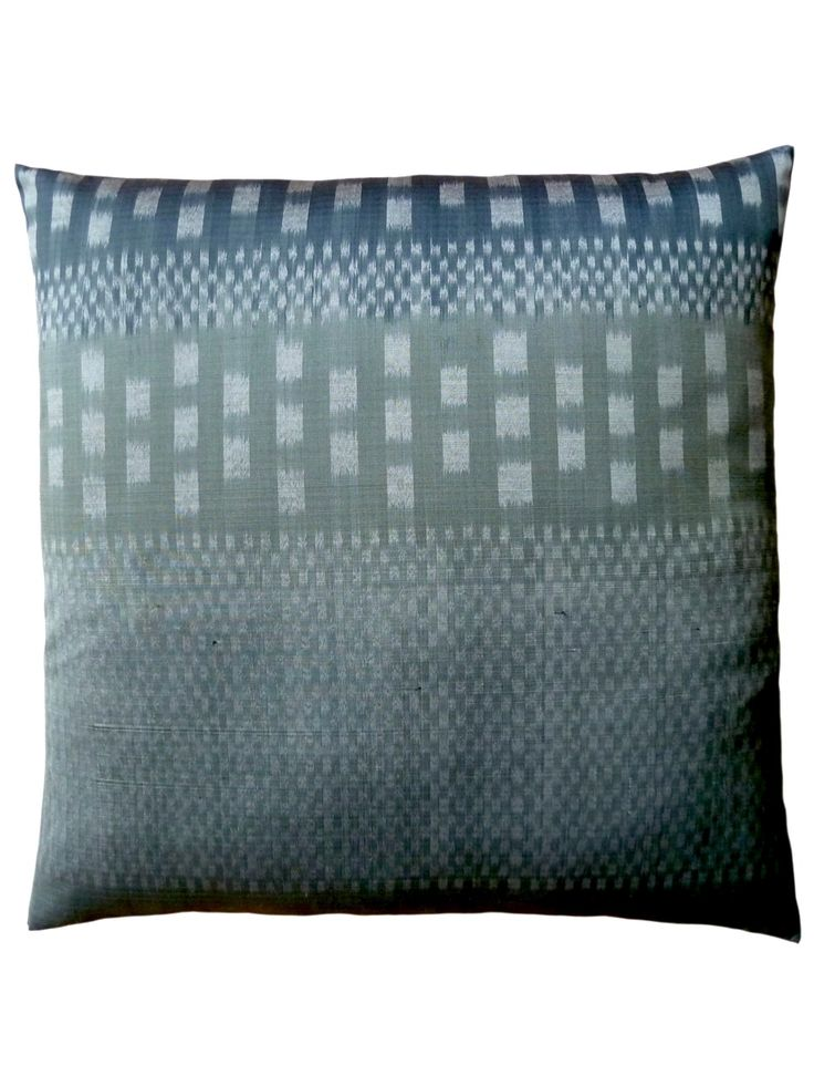 Pillow Thai Silk Ikat Silver Charcoal