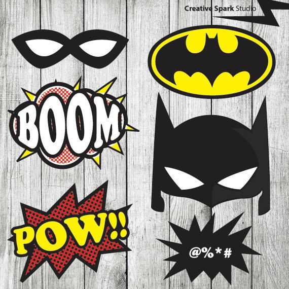 Superhero Props Batman & Robin Photo Booth Props - batman - mask, and speech bubbles - Printable DIY Pdf Digital File