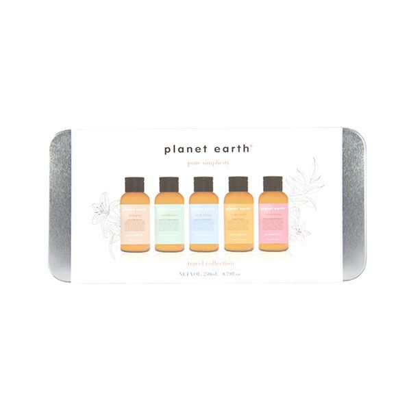 Experience the fresh, natural feeling of the Planet Earth range with the gorgeous mini travel set tin.  Inspired by nature, our products contain no artificial colours, mineral oils, parabens, PEGS or SLES.