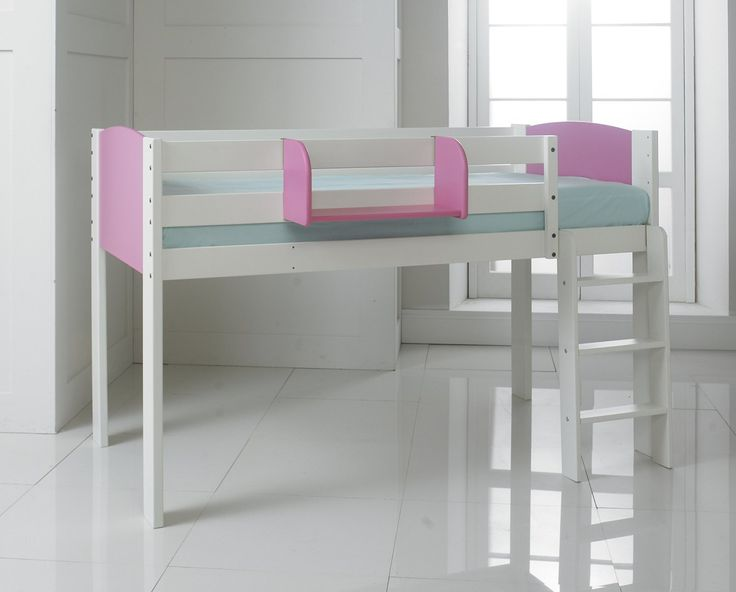 """Shorty Cabin Bed Mid Sleeper, Narrow To Suit 2'6"""" Wide Single Mattress. White/Pink. Including Furniture: Cupboard, 3 Drawer Chest, Shelf Unit & Hook on Shelf. Solid Pine & Composites. Made In The UK.: Amazon.co.uk: Kitchen & Home"""