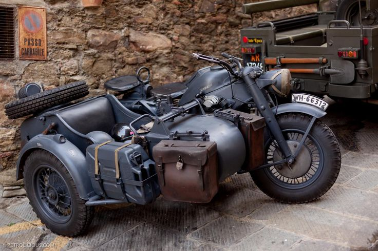 Zündapp motorcycle with sidecar, built during WWII                                                                                                                                                                                 More