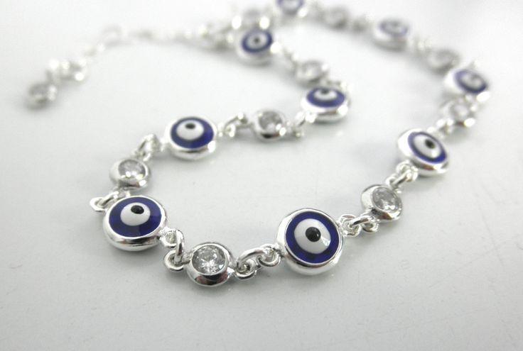 Bracelets For Ladies  :    Multi blue evil eyes  with cz charms bracelet – evil eye bracelet – protection bracelet – silver – gold – rose gold –  - #Bracelets https://talkfashion.net/acceseroris/bracelets/bracelets-for-ladies-multi-blue-evil-eyes-with-cz-charms-bracelet-evil-eye-bracelet-protection-b/