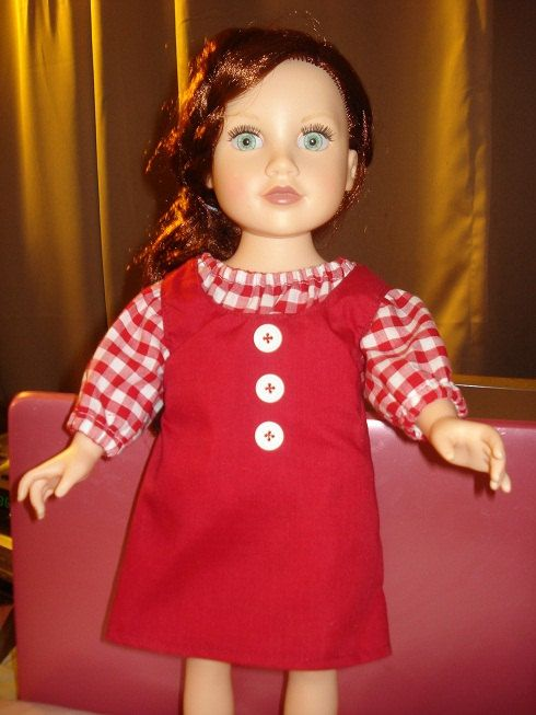 Handmade Amercian Girl Doll red checked blouse and red jumper set - AG73. $18.95, via Etsy.