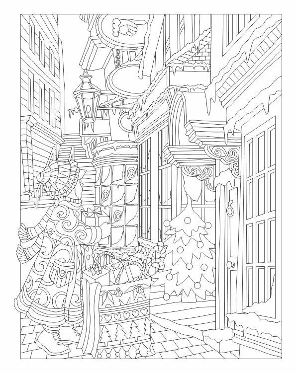 Christmas Scene Coloring Page
