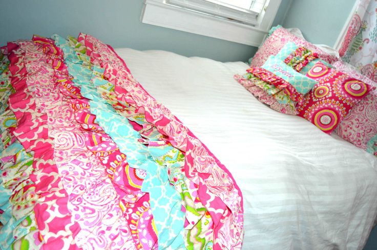 Ruffled Bed Scarf Bed Runner in Kumari Garden Fabric by SorenByAngelique on Etsy https://www.etsy.com/listing/207187645/ruffled-bed-scarf-bed-runner-in-kumari