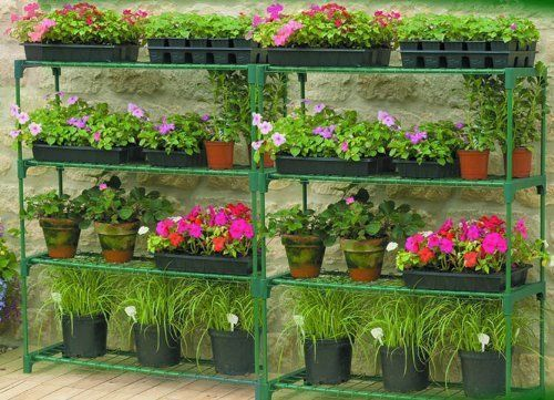 Greenhouse x2 staging shelving Shed Storage double value pack Gardman #Greenhousex2staging