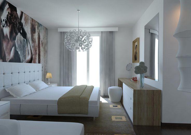Suite con cabina armadio e bagno. Wallpaper di Glamora