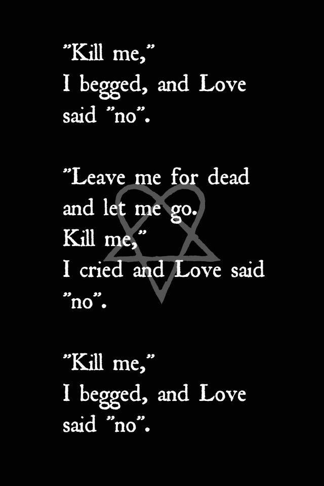 "Ville Valo lyrics for And Love Said ""No""."