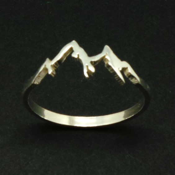 Sterling Silver Mountain Range Ring Camping Gift by yhtanaff