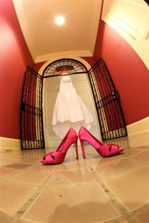 Fuschia wedding shoe photo; credit B Photography