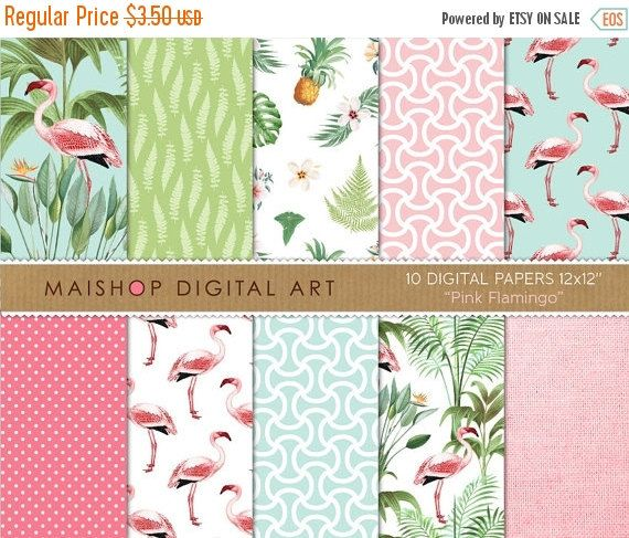 SALE Tropical Digital Paper 'Pink Flamingo' by MaishopDigitalArt