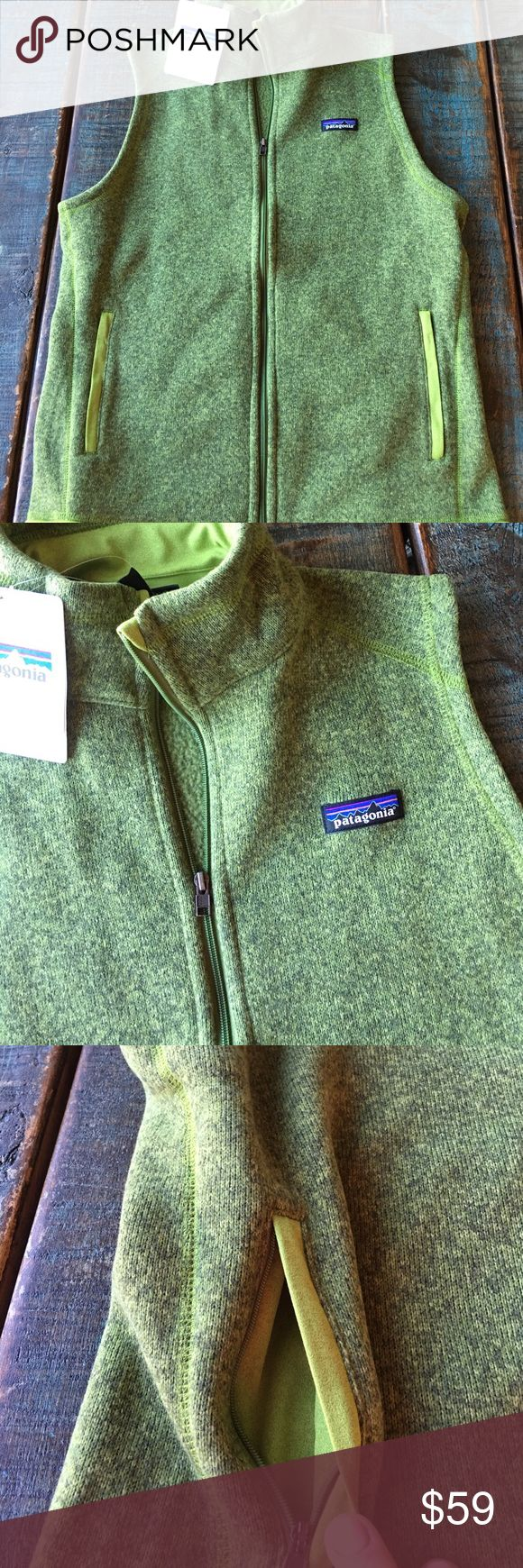 """Patagonia Better Sweater Vest 💙 Brand new with tags! Slim fit. It's a large but I'm a Medium (10) in most other tops and this fits perfectly, not snug if you are normally a medium. Supply Green in color. 100% polyester. 20.5"""" across front. Patagonia Jackets & Coats Vests"""