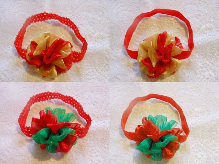 XMAS BABY GIRL TODDLER PUFF RIBBON RED LACE OR PLAIN HEADBAND HAIR ACCESSORY  #HandmadebyBONNIEBOBBLES