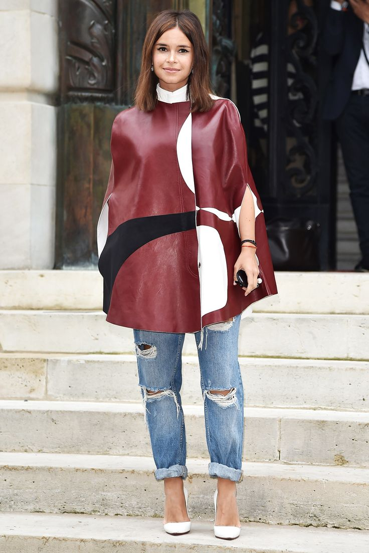Miroslava Duma Proves Petite Ladies Can Wear Sandwich-Board Capes, Too #refinery29  http://www.refinery29.com/2014/07/70916/miroslava-duma-petite-capes#slide2  This wider, half-moon shape with a cropped hem calls for a looser pant leg. Here's to pairing baggy silhouettes on top and bottom in a chic, sophisticated way.