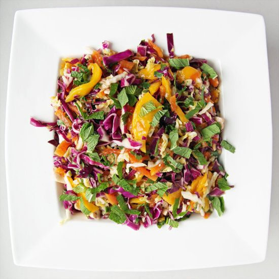 Taste the Rainbow With Spicy Mango, Papaya, and Cabbage Slaw: Drowning in the brown-bag lunch doldrums