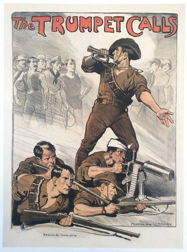 original ww1 poster australia 1918 wwi anzac 35x26 army