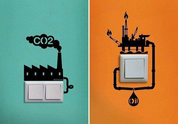 Interruttori della luce,risparmio energetico.