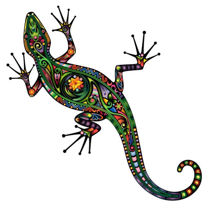 """Kolorowa naklejka """"Jaszczurka - sztuka psychodeliczna"""" to dekoracja ścienna, która zachwyci każdego zwolennika nietypowych dekoracji!"""