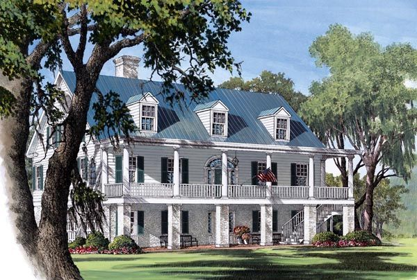 Colonial plantation southern house plan 86178 Southern plantation house plans