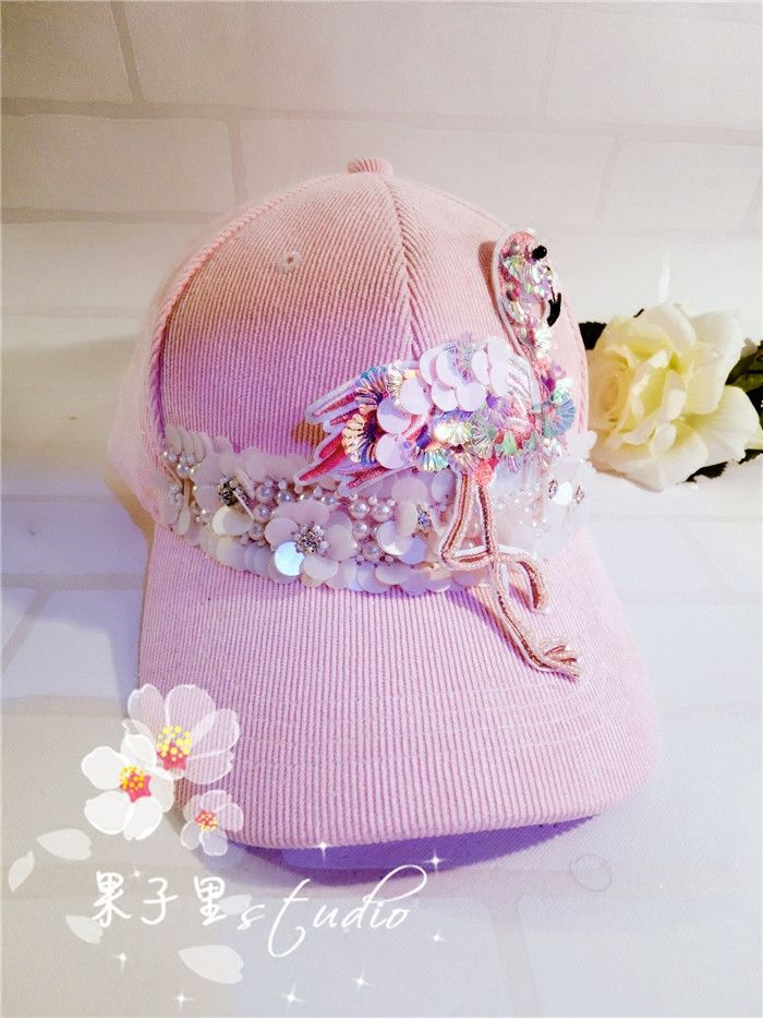 Sweet embellished visor Pink Flamingo Ball cap  6c399afba69