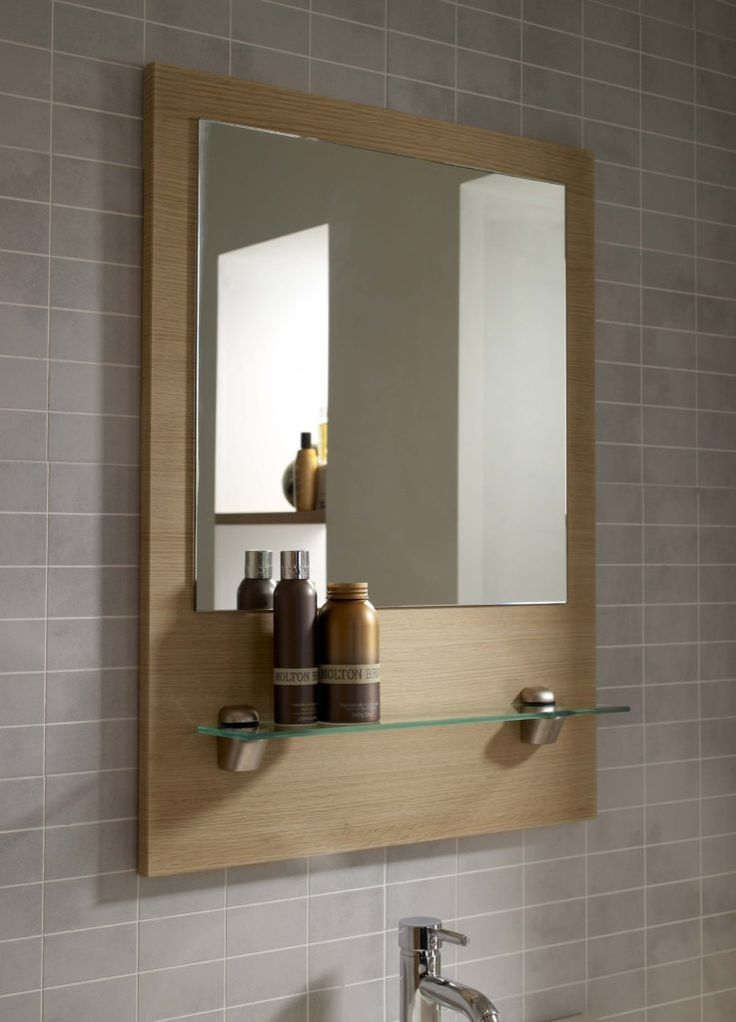 oak bathroom mirror with shelf - best bathroom 2017