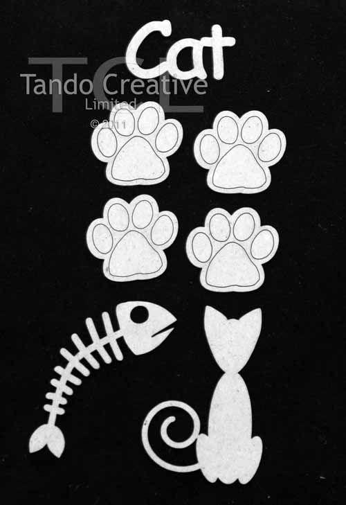 Tando Creative - Cat Chipboard Set Large (white coated board)