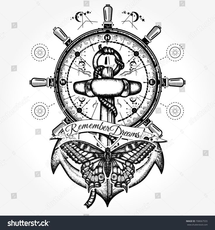 Anchor, steering wheel, butterfly, tattoo art. Vintage anchor and steering wheel t-shirt design. Symbol of freedom, marine adventure tourism. Slogan follow dreams