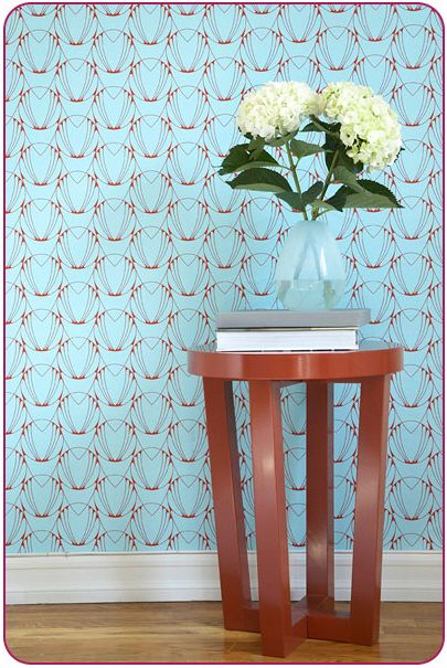 Tempaper designs temporary removable wallpaper alto caribbean blue and coral red