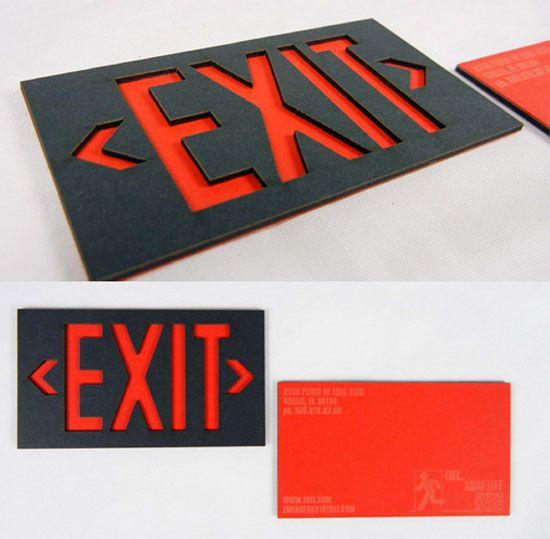 11 best business card letterhead images on pinterest carte de laser cut exit business card cool creative unique business card showcasing on coolest business card reheart Choice Image