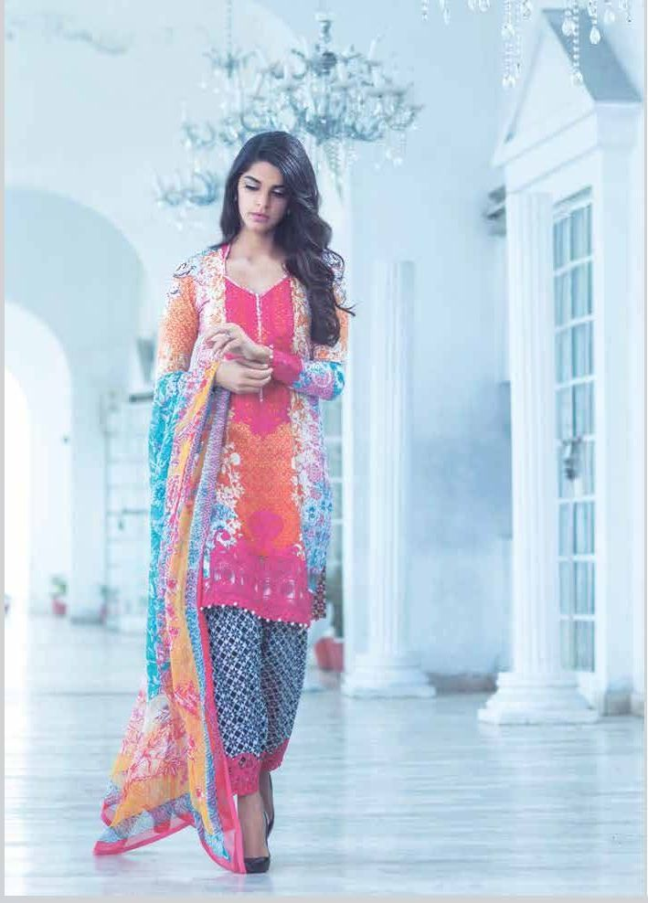 Crimson Lawn by Farah Talib Aziz with model Sanam Saeed