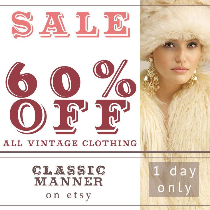 60% off everything until midnight! #ClassicManner on #Etsy #vintagesale #clothingsale