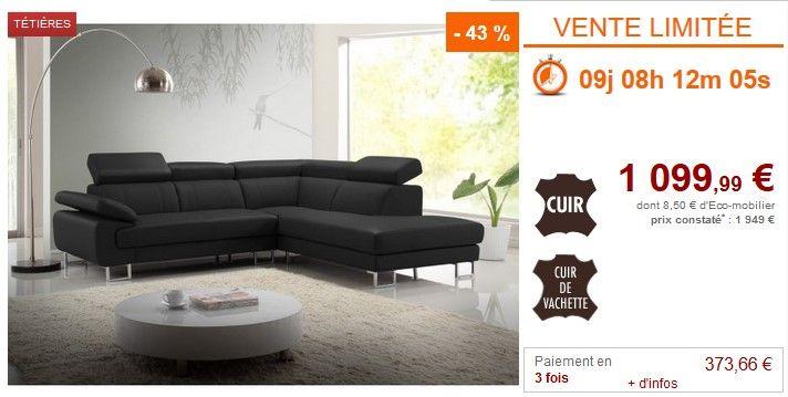 Vente flash Canapé d'angle Vente Unique promo Canapé d'angle COLISEE en cuir Noir - Angle droit prix 1 099.99 € au lieu de 1 949 €