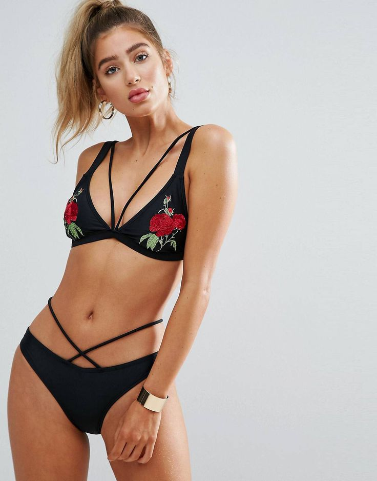 Misguided Rose Embroidered Strappy Bikini Top