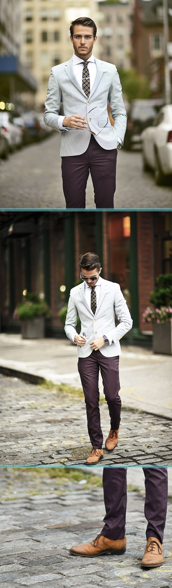 Grey or pale blue subtle stripe jacket + dark brown or burgundy trousers + tan shoes, white shirt, printed tie. Sunglasses.