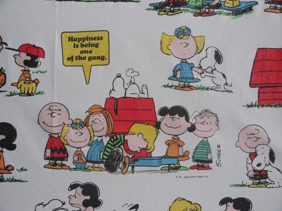 Vintage Peanuts Cartoon Flat Sheet and Two Pillowcases 1971...I was really surprised to find these.  I had this set and vividly remember sleeping on them...they have long been tossed.   But , I really had them...ah, the memories.