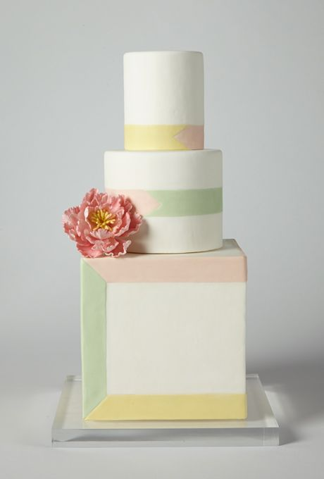 Brides: America's Prettiest Wedding Cakes | An Ivory Wedding Cake with Pastel Stripes | Cake by Wild Orchid Baking