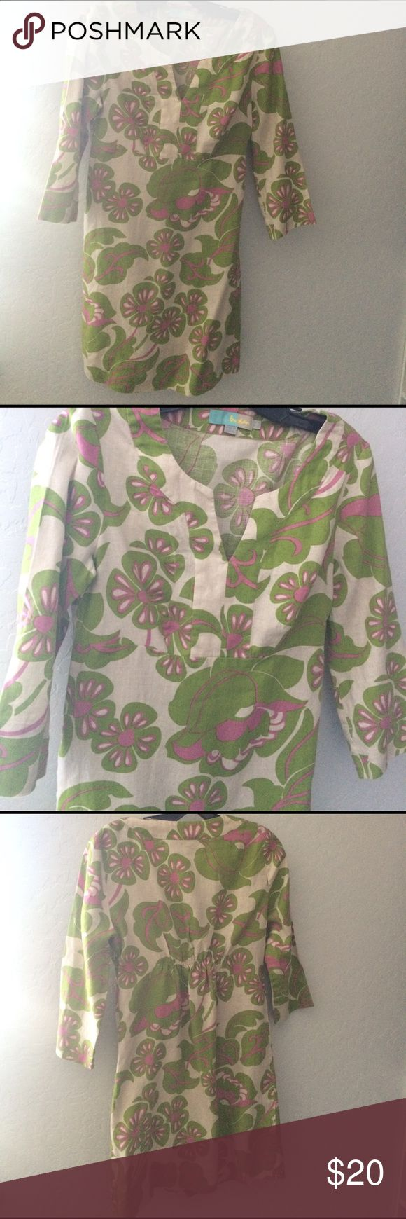 """Boden Dress Boden Dress in size US 4. Side zipper. Vintage looking material with green, pink and ivory. 3/4 sleeves. Gathered in back for a more form fitting.  17"""" from pit to pit and 32"""" long. 100 % linen but feels soft as though it was washed so please check measurements. It does look faded too. But very pretty! Boden Dresses Maxi"""