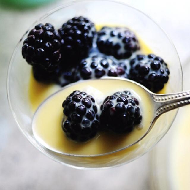 blackberries with sweet cream berries and cream dessert cream berries ...
