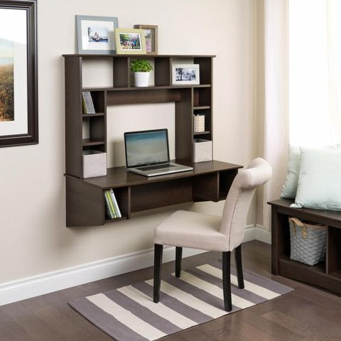 Modern Espresso Floating Wall Mounted Desk With Storage