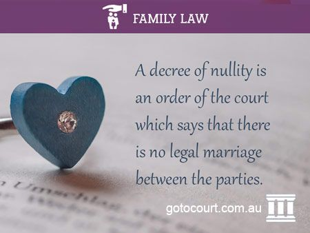 An annulment of marriage in Australia is governed by the Family Law Act and requires a decree of nullity. A decree of nullity is an order which says that there is no legal marriage between the parties even though a marriage ceremony may have taken place.   Read more: Annulment of Marriage | Family and Divorce Lawyers, Link: https://www.gotocourt.com.au/family-law/annulment-of-marriage/