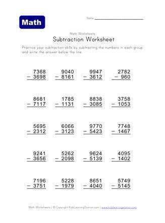 mixed subtraction worksheet six | pot4 | Subtraction worksheets ...