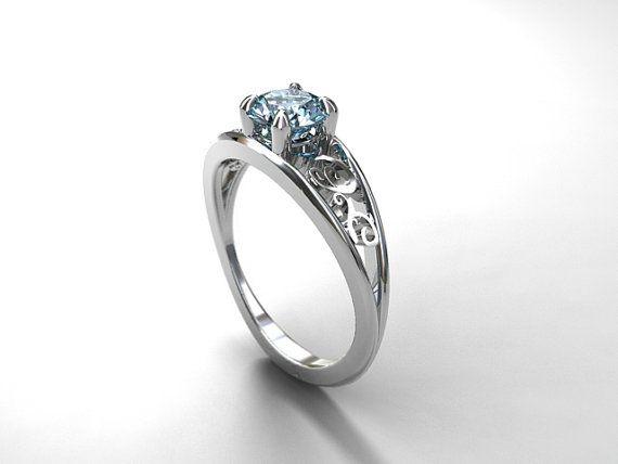 Filigree engagement ring with gorgeous Aquamarine by TorkkeliJewellery, $1990.00