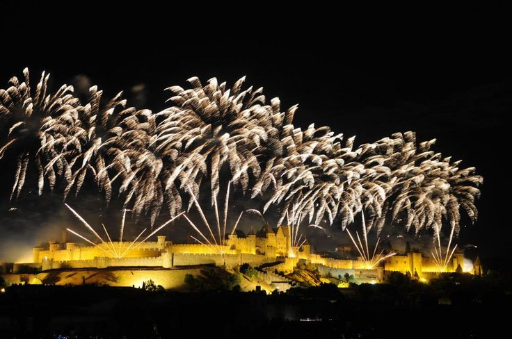 Carcassonne, France. Fireworks display for the 14 July 2016.