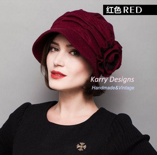 winter Flower decoration fashion ladies hats