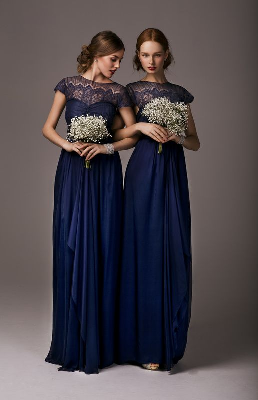 Long Navy Blue Bridesmaid Dresses with Lace Bodice.