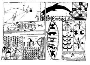 John Pule, Niuean artist, Hiapo inspired ink drawing