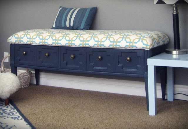 coffee table-turned padded bench